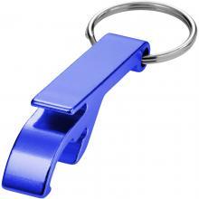 Flaschenöffner mit Schlüsselring | Druck & Gravur | Aluminium | max171 Blau