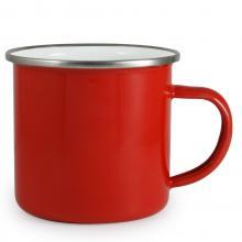 Emaille Becher 300 ml   Farbig  große Druckfläche    4612302 Rot