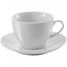 Hochwertig | mit Untertasse | Porzellan | 250 ml | 8033179 Weiß