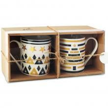 2 Tassen | Weihnachtsdruck Keramik | 250 ml