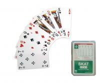 SKAT Spielkarten mit Plastikbox   Aufdruck Kartenrückseite