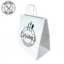Kraftpapiertasche Gastro | 32 x 17 x 39 cm | Kordelgriff  | Maxp021 Weiß