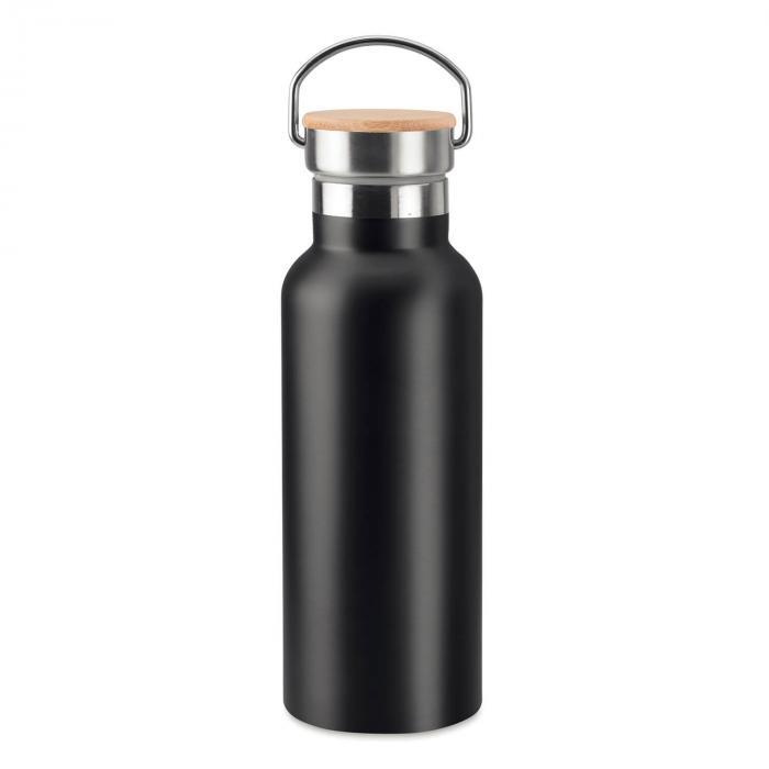 Thermosflasche | Doppelwandig | Edelstahl | Bambus Top 500 ml | 8759431 Schwarz