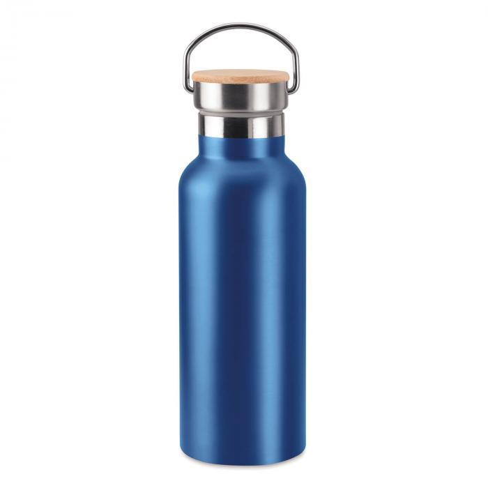 Thermosflasche | Doppelwandig | Edelstahl | Bambus Top 500 ml | 8759431 Blau