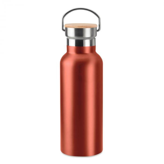 Thermosflasche | Doppelwandig | Edelstahl | Bambus Top 500 ml | 8759431 Rot