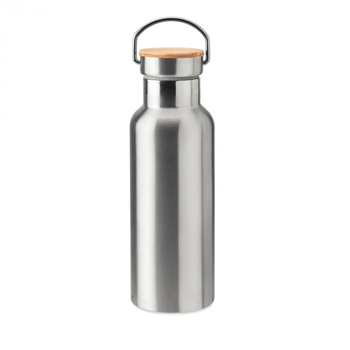 Thermosflasche | Doppelwandig | Edelstahl | Bambus Top 500 ml | 8759431 Matt (Silber)