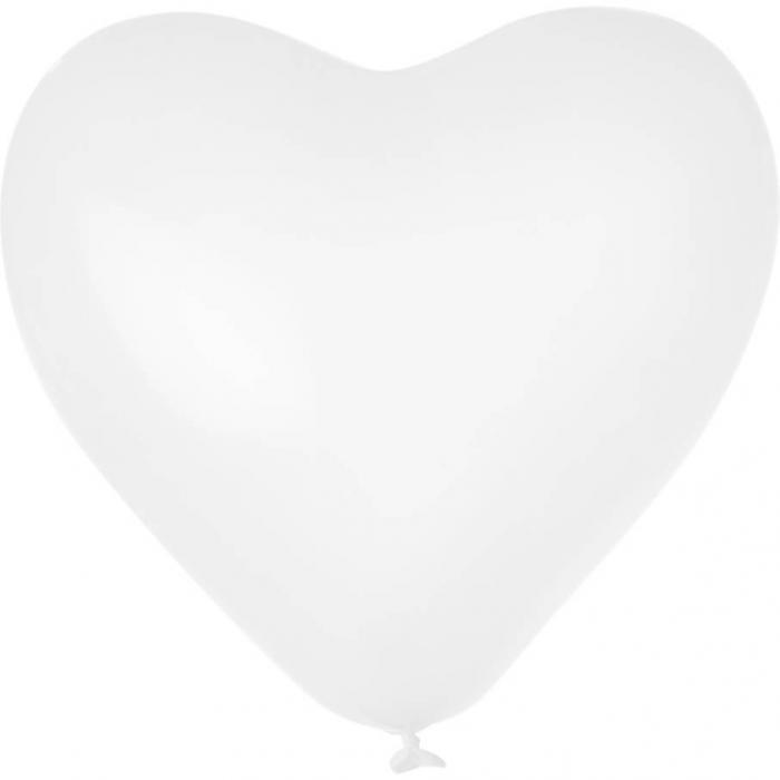 Herz-Luftballon | Einseitig bedruckt | 14H80 Weiß